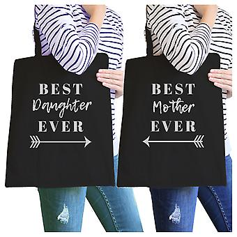Best Daughter & Mother Ever Black Mom Daughter Couples Canvas Bag