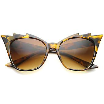 Womens High Fashion Glam Rock Jagged Edge Staggered Cat Eye Sunglasses