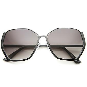 Halbrandlosen Sechskant geometrische übergroße Sonnenbrille Frauen 59 mm