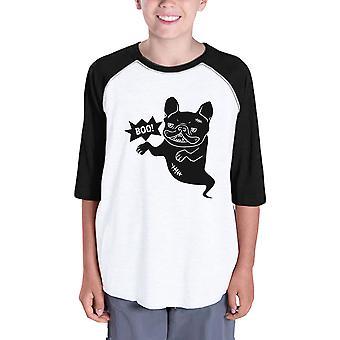 Бу французский бульдог бейсбол рубашки для детей Смешные Хеллоуин тенниска