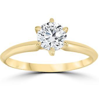 ك 14 الأصفر الذهب 3/4ct جولة خاتم الخطوبة الماس سوليتير