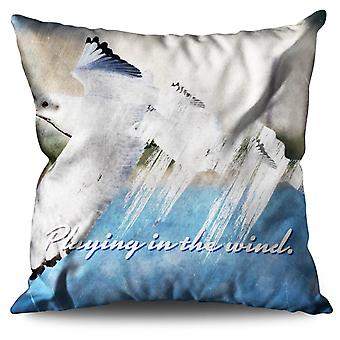 Playing Wind Birds Linen Cushion 30cm x 30cm | Wellcoda
