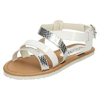 Девочек пятно на плоской Slingback Strappy сандалии H0151