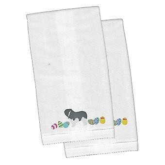 Polish Lowland Sheepdog Easter White Embroidered Plush Hand Towel Set of 2