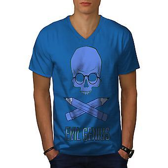 Evil Genius Funy Geek Men Royal BlueV-Neck T-shirt   Wellcoda