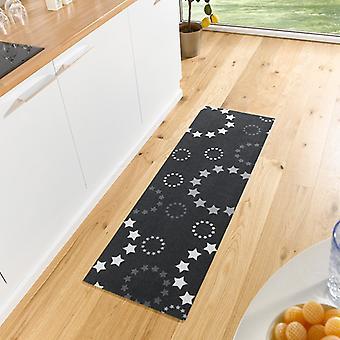 Washable kitchen runner of stars black 50 x 150 cm