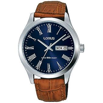 Lorus Brown Leather Strap Dark Blue Dial Date & Day Display RXN55DX9 Watch