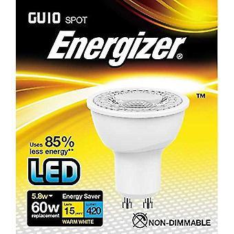 1 X Energizer LED Energy Saving Lightbulb GU10 5.8w = 60w Warm White[Energy Class A+]