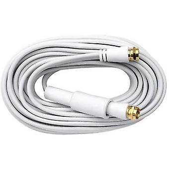 Axing Antennas, SAT Cable [1x F plug - 1x F plug] 10.00 m 75 dB gold plated connectors White