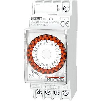 Suevia DIN rail mount timer Operating voltage: 230 V AC DinO D 1 change-over 16 A 250 V AC Weekday settings