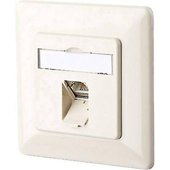 Metz Connect 130C371001-I Network outlet Flush mount Insert with main panel and frame CAT 6A 1 port Oyster white