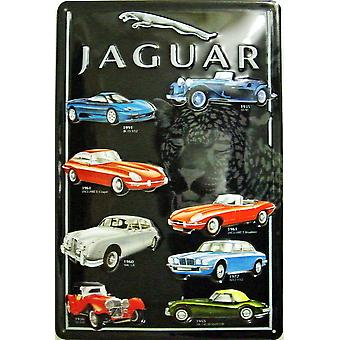 Jaguar Montage Embossed Steel Sign (200Mm X 300Mm Portrait)