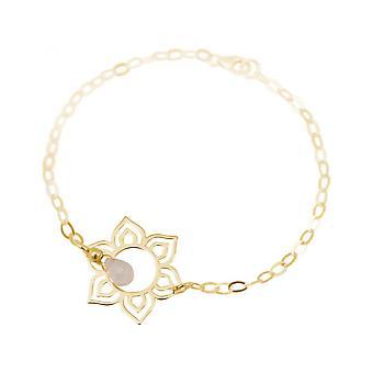 Mulheres - pulseira - 925 prata - mandala de - flor de lótus - chapeado ouro - Rose Quartz - gotas - pink - YOGA