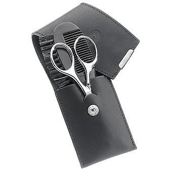 Caso de Bart barba de corte caso BART corte Yuft cuero negro 2 piezas.