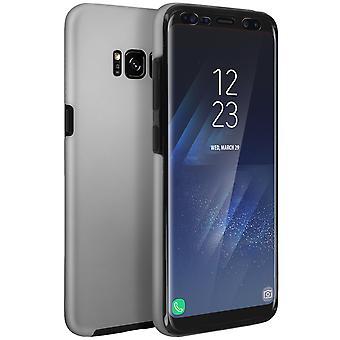 Custodia in silicone + cover posteriore in policarbonato per Samsung Galaxy S8 Plus - argento