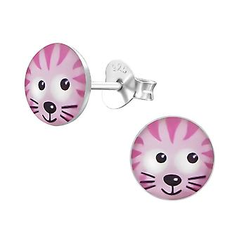 Cat - 925 Sterling Silver Colourful Ear Studs - W19708x