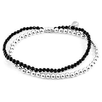 Anchor and Crew Harmony Spinel Silver and Stone Bracelet - Silver/Black