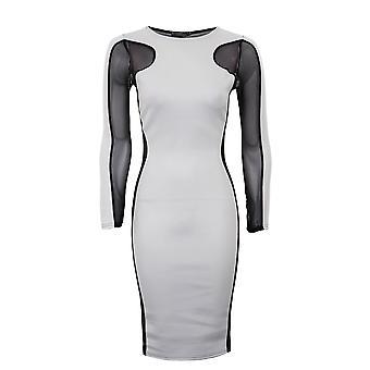 Senhoras planície contraste malha Insert vestido planície emagrecimento efeito Womens vestido