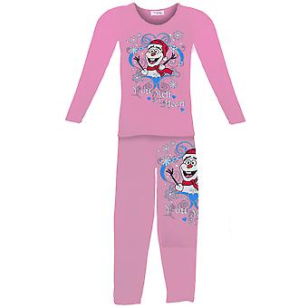 Children's Olaf You Melt My Heart Snowflake Snowman Girls Pyjama Two Piece Set
