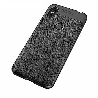 Motorola One TPU Shell Litchi Textura-Negro