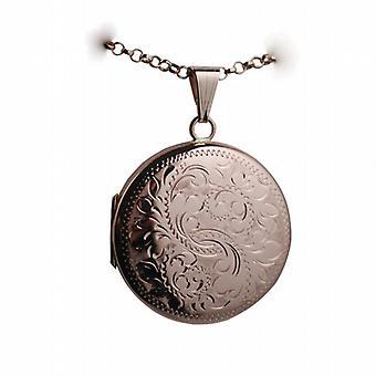 9ct handgravierte Rose Gold 29mm Rundes Medaillon mit einem Belcher Kette 16 Zoll nur geeignet für Kinder