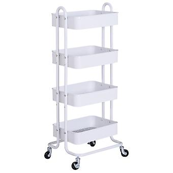 HOMCOM Metal 4-Tier Storage Utility Cart Mobile Serving Trolly Rolling Kitchen Organiser Mesh Bottom Tray White