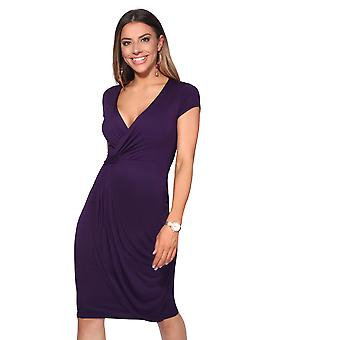 KRISP Womens V hals wrap front top Jersey MIDI kjole Cap ærme plisseret nederdel fest