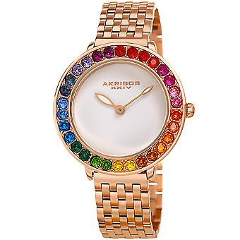 Akribos XXIV AKS191091RG orologio da polso con cristalli Swarovski quarzo arcobaleno donna