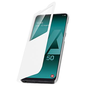 Carcasă flip fereastră smart view pentru Samsung Galaxy A50, capac subțire – Alb