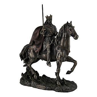 Koning Arthur op paard bronzen klaar standbeeld