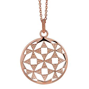 CHAIN WITH PENDANT CIRCLE 925 SILVER ROSEGOLD PLATED