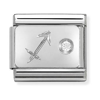 Nominering klassisk Sagittarius Zodiac stål, CZ og 925 sølv link Charm 330302/09