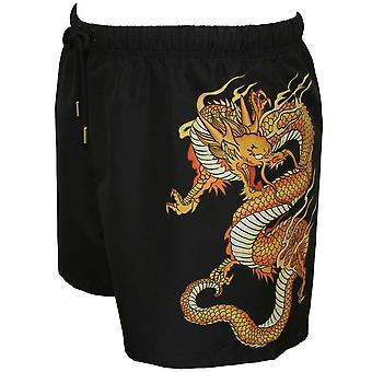 Versace Golden Dragon Print Swim Shorts, Black/gold