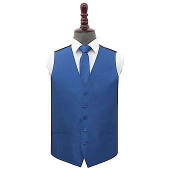 Navy Blue Plain Shantung Wedding Waistcoat & Tie Set