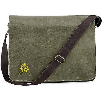 16th 5th The Queens Royal Lancers - Licensed British Army Embroidered Vintage Canvas Despatch Messenger Bag