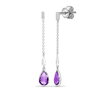 Jewelco London 18ct White Gold Rubover 0.03ct Diamond and Pear Purple 2.3ct Amethyst Lively Tears of Joy Drop Earrings