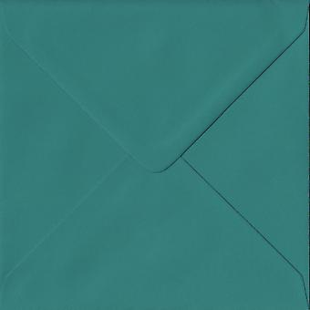 Teal Green Gummed 130mm Square Coloured Green Envelopes. 135gsm GF Smith Colorplan Paper. 130mm x 130mm. Banker Style Envelope.