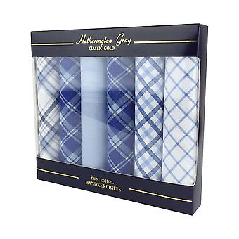 6 Pack Mens/Gentlemens Checked Handkerchiefs, 100% Cotton In A Gift Box, Various Colours