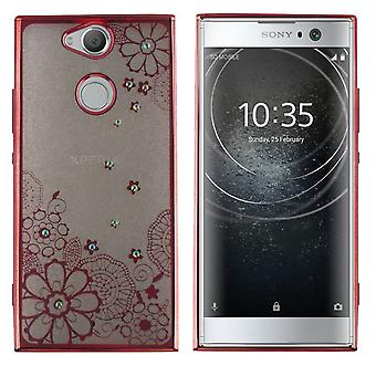 Sony XA2 mål blommor Rose Guld - Backcover Clear Bumper Look
