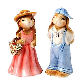 Boy and Girl Date Bunny Bunnies Couple Salt and Pepper Shaker