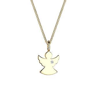 Diamore Silver Pendant Necklace 925 - White Diamond 0 -01ct - Round Cut - 45 cm