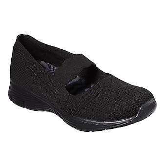 Skechers Womens Seager - Power Hitter Engineered Knit Mary Jane Shoe Black/Black