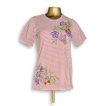 Quacker Factory Women's Top XXS Floral Embroidered Striped White A289669