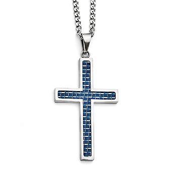 Edelstahl Fancy Hummer Verschluss blau Kohlefaser Inlay poliert große religiöse Glauben Kreuz Halskette 22 Zoll Jewe