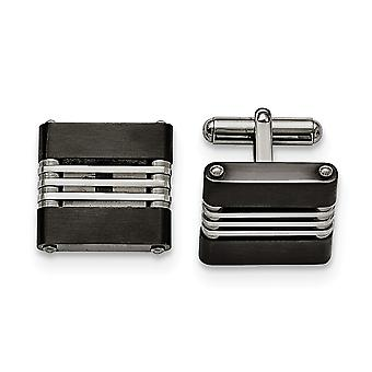 Stainless Steel IP black plated Brushed and Polished Black Ip plated Cuff Links Jewelry Gifts for Men