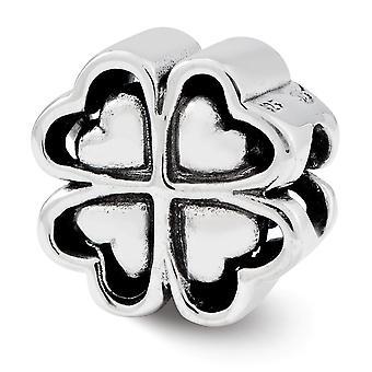 925 plata esterlina pulido acabado Reflexiones cuatro hojas corazón trébol perla encanto colgante collar joyas regalos para Wom