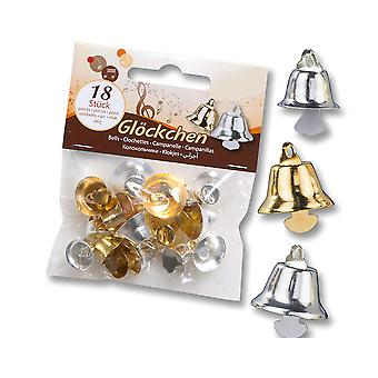 18 Silver & Gold Liberty Jingle Bells for Crafts