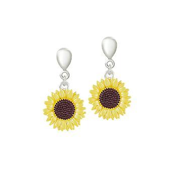 Eternal Collection Sunflower Yellow Enamel Silver Tone Flower Drop Clip On Earrings