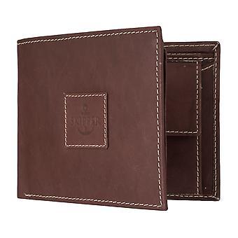 Skipper mens wallet wallet purse leather purse landscape Brown 7115