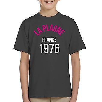 La Plagne France 1976 Skiing Kid's T-Shirt
